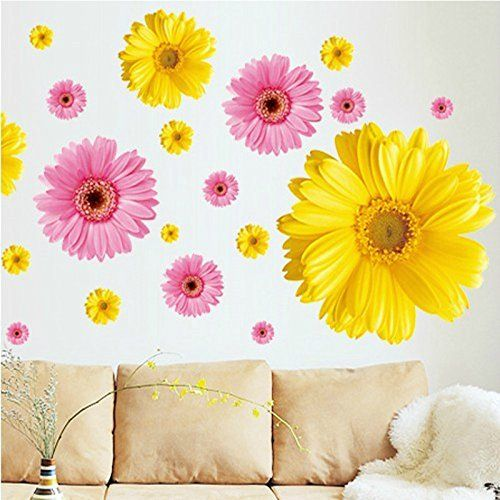 SWORNA Nature Series 3D Yellow Daisies Removable Vinyl Mural Wall ...