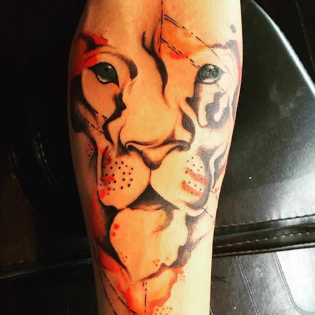 #tattoos #watercolortattoo #tattoo #tattooartist #liontattoo #supportgoodtattooers #supportgoodtattooing by jlee_tattoos