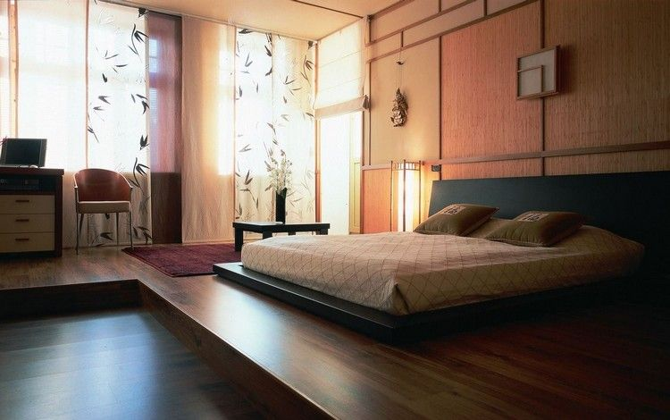 dormir la t te au nord lit design chambre de style japonais sol en parquet massif et d co. Black Bedroom Furniture Sets. Home Design Ideas