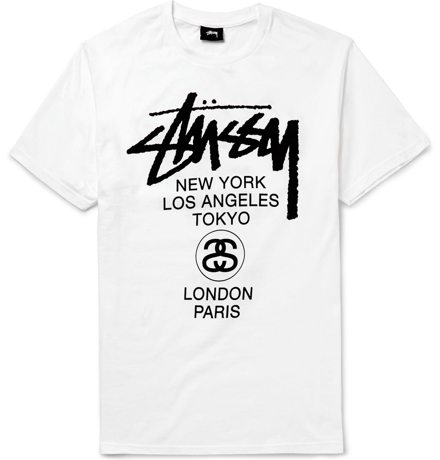 In 1989, Stüssy created its 'World Tour' motif, kick-starting an enduring concept in graphic print design. The front of this cotton-jersey T-shirt is detailed with Helvetica type referencing New York, Los Angeles, Tokyo, London and Paris - all cities considered to be style capitals of the world. The back is emblazoned with graffiti-like lettering calling out Bronx, Compton, Santa Ana, Brooklyn and Venice; areas where the label's street aesthetic thrived.