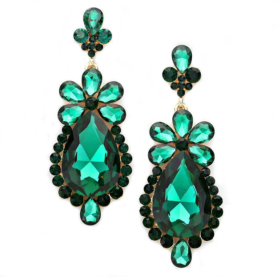 Emerald Green Rhinestone Formal Wedding Bridal Prom Party Pageant  Bridesmaid Evening Long Dangle Teardrop Flower Earrings