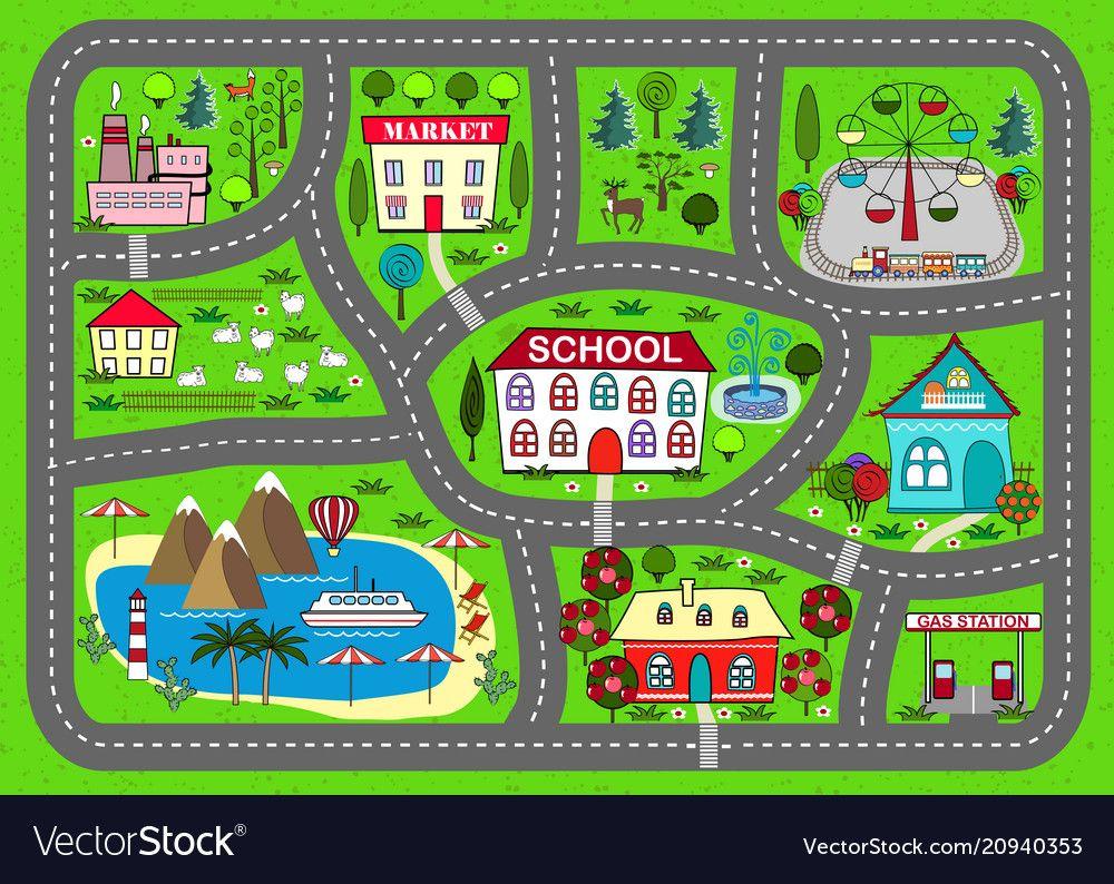 Road Play Mat For Children Activity Entertainment Vector
