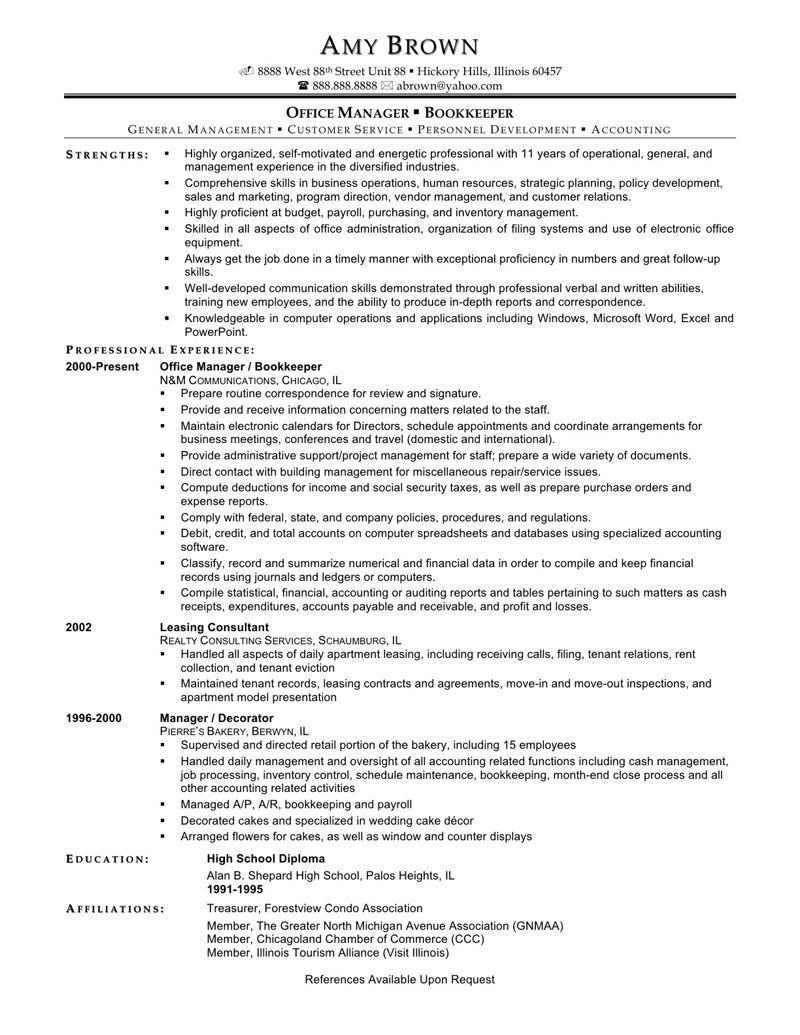 Sample Resume For Office Manager Bookkeeper http//www