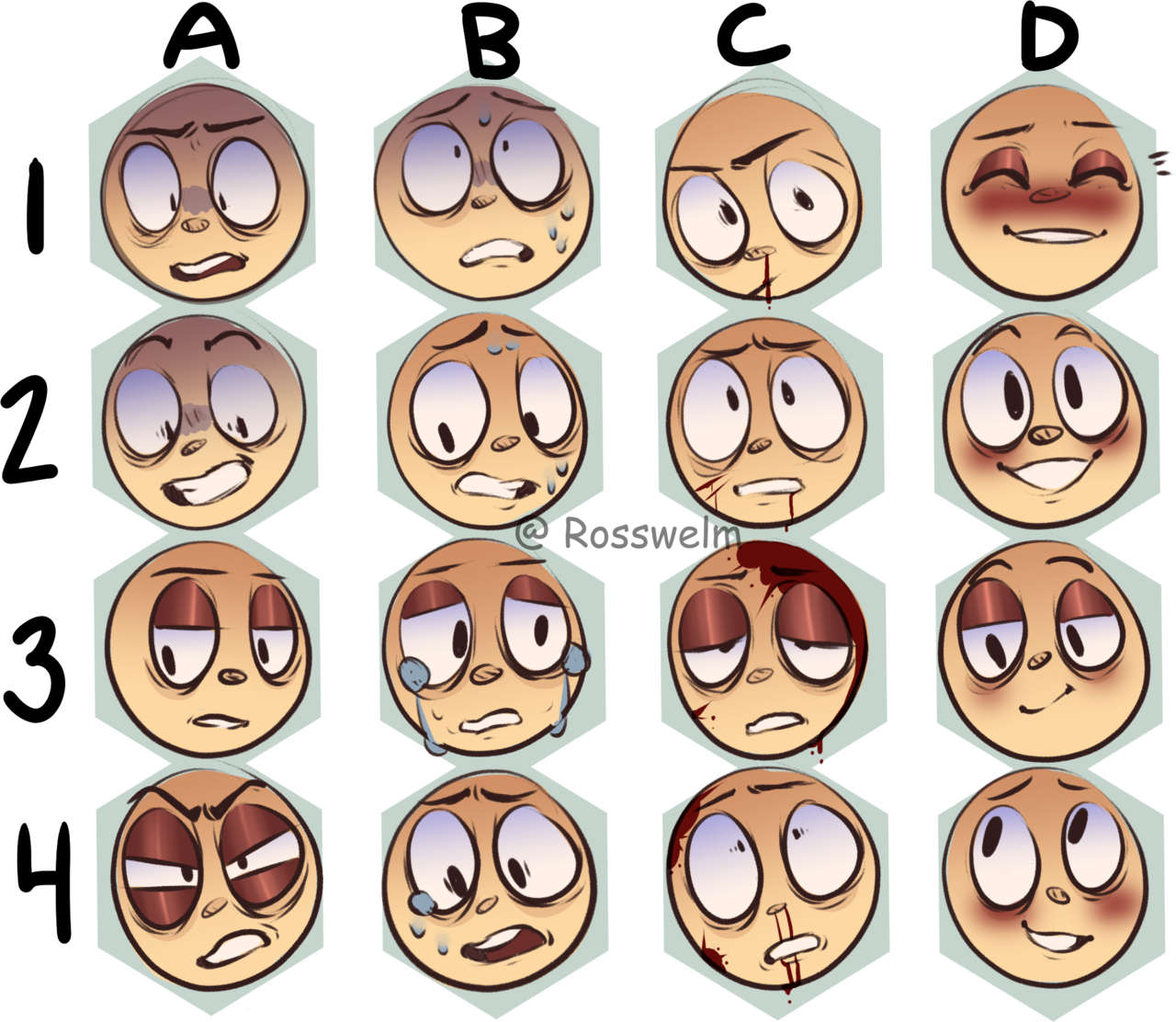 Rosswelm I Made An Expression Sheet Feel Free To Use But Please Credit Me Drawing Expressions Expression Sheet Facial Expressions Drawing