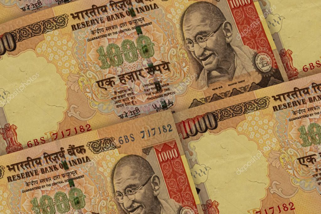 Indian Rupees Banknotes Background 1000 Inr Stock Photo
