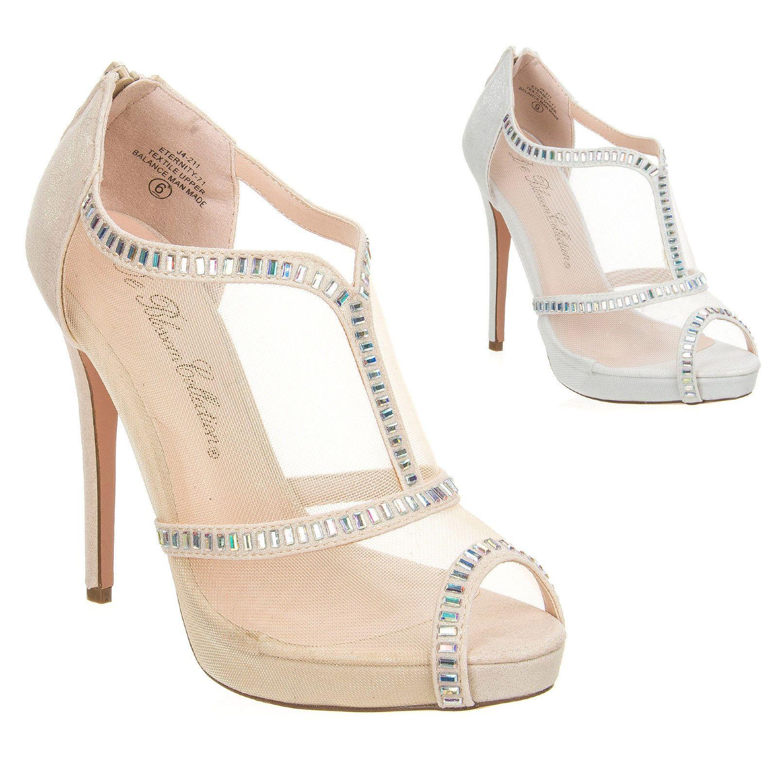e1ede1388fe Wedding Bridesmaid Mesh High Heel Ankle Shootie Pumps Crystal Eternity 71   sparkly  illusion