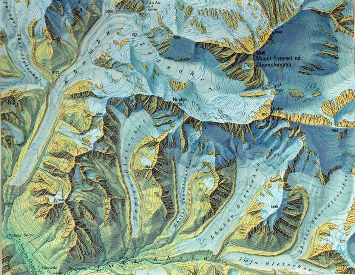 Contour Line Drawing Map : This shaded map of mount everest by swiss cartographer eduard