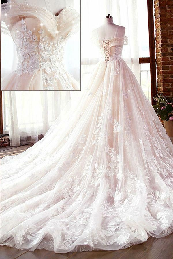 Photo of Wedding Dresses Ball Gown, Fascinating Tulle & Lace Off-the-shoulder Neckline A-line Wedding Dresses With Lace Appliques & Beadings DressilyMe
