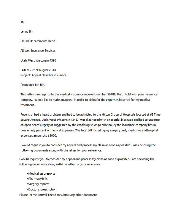 Claim Template Letter Business Proposal Plan Sample Claims