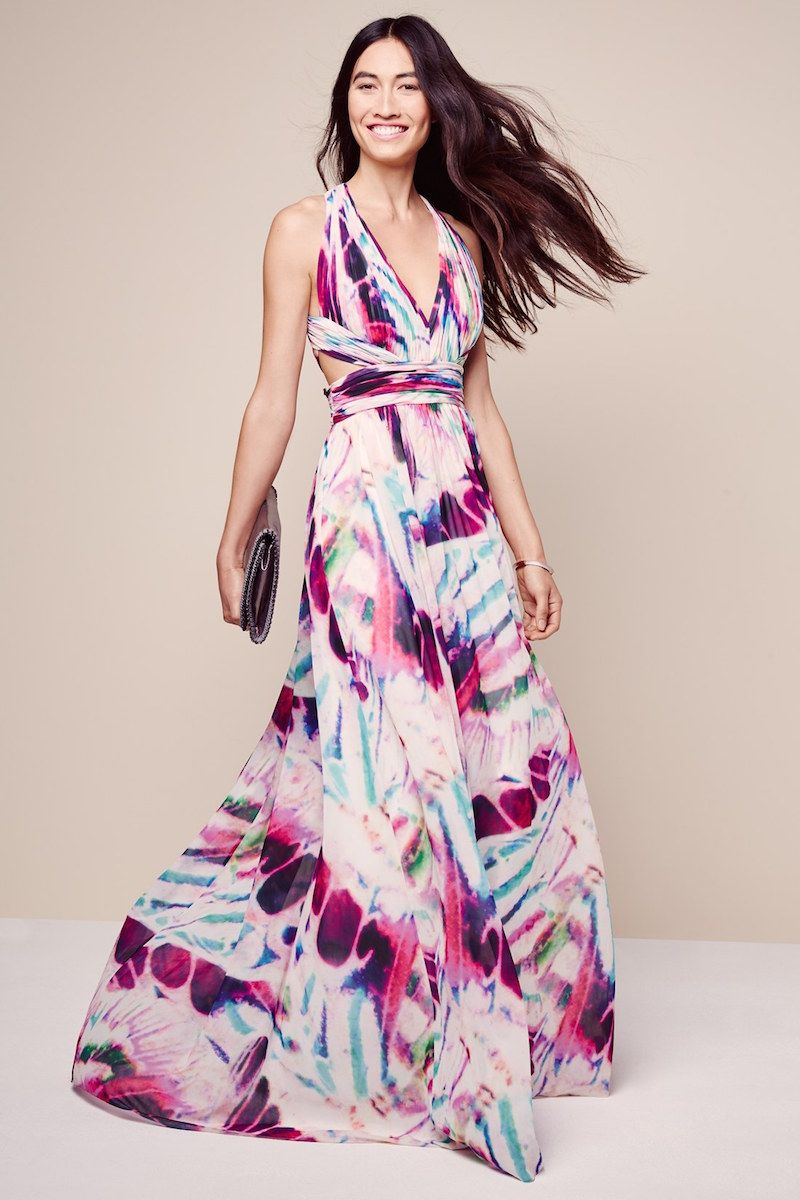 Aidan by Aidan Mattox Print Chiffon Open Back Gown | Favor Style ...