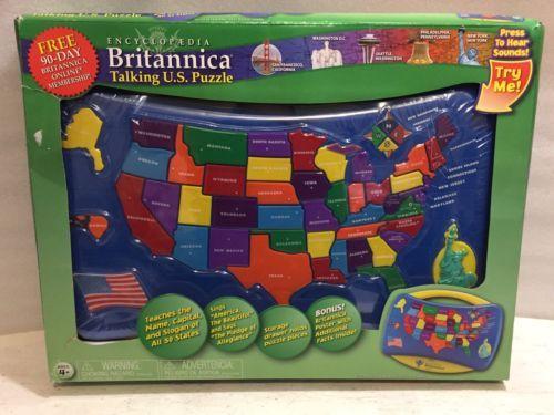 TEK NEK Toys Encyclopedia Britannica Talking USA MAP Puzzle Learning ...