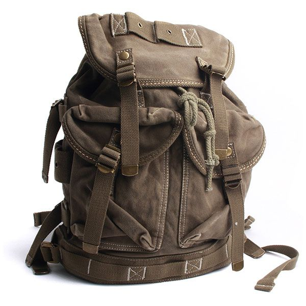 Vintage Canvas Outdoor Military Mens Rucksack Backpack Travel Bag ...