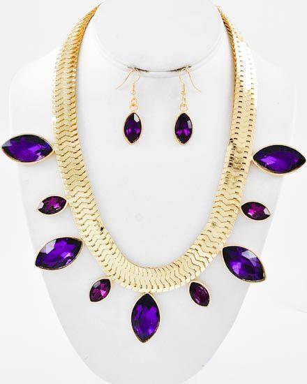 Gold Tone / Purple Glass / Lead Compliant / Metal Chain / Necklace & Fish Hook Earring Set