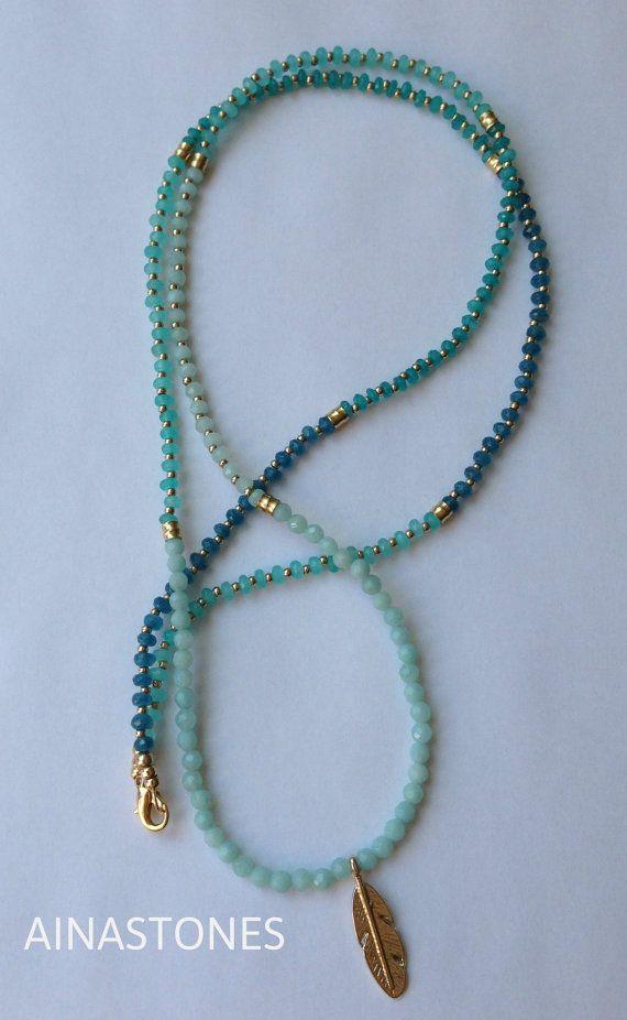 991ded6011ba Collar aqua tribal de piedras semipreciosas por AINASTONES en Etsy ...