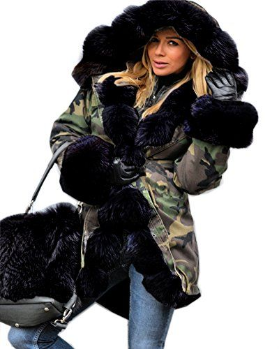 9c4f4e7ebcd Roiii Womens Black Winter Warm Outerwear Ladies Parka Faux Fur Hooded  Jacket Coats XL Camouflage     Want to know more