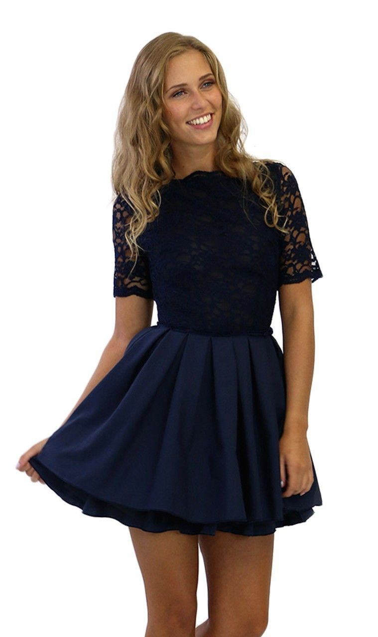 Jones and Jones Audrey Navy Lace 3/4 Sleeve Dress - Dresses - Shop