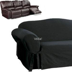 Reclining Sofa Slipcover Black Suede Adapted For Dual Recliner