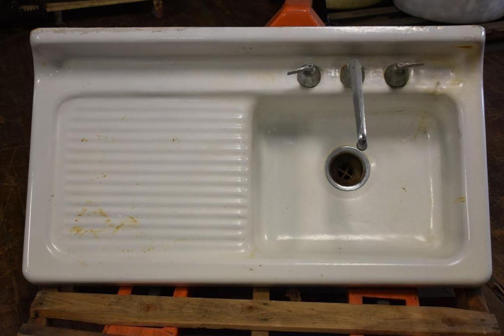 Antique Cast Iron Porcelain Sink Left Drainboard 42 X 22 Vintage
