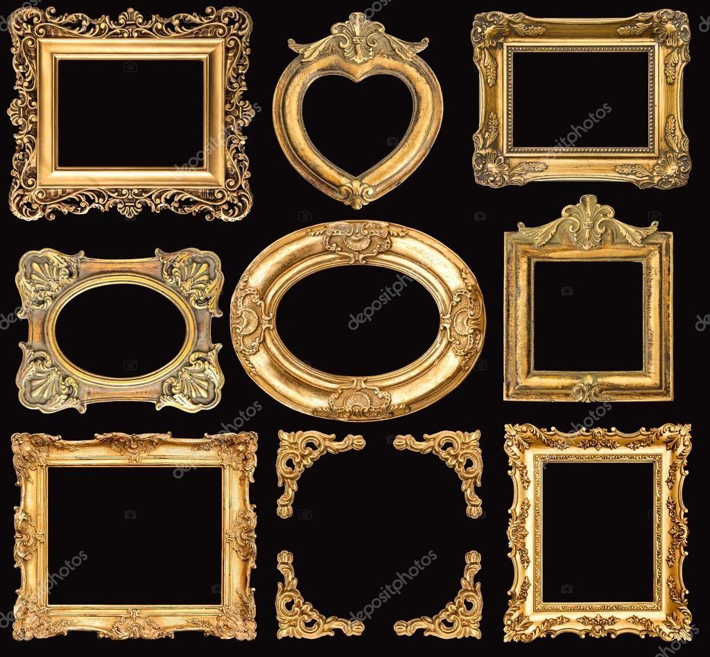 Set Of Golden Frames Gold Picture Frames Background Vintage Frame
