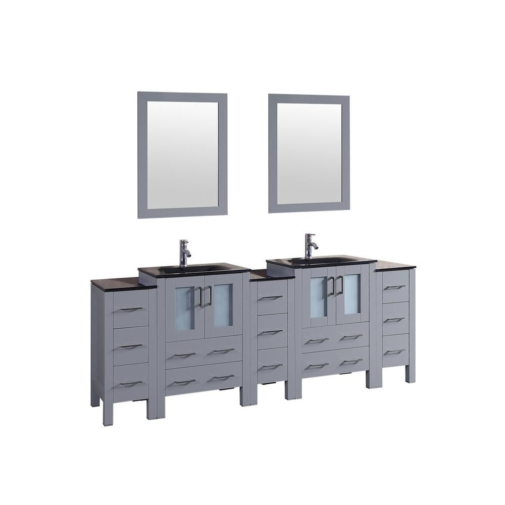 Bosconi Bosconi 84 In W Double Bath Vanity In Gray With Vanity