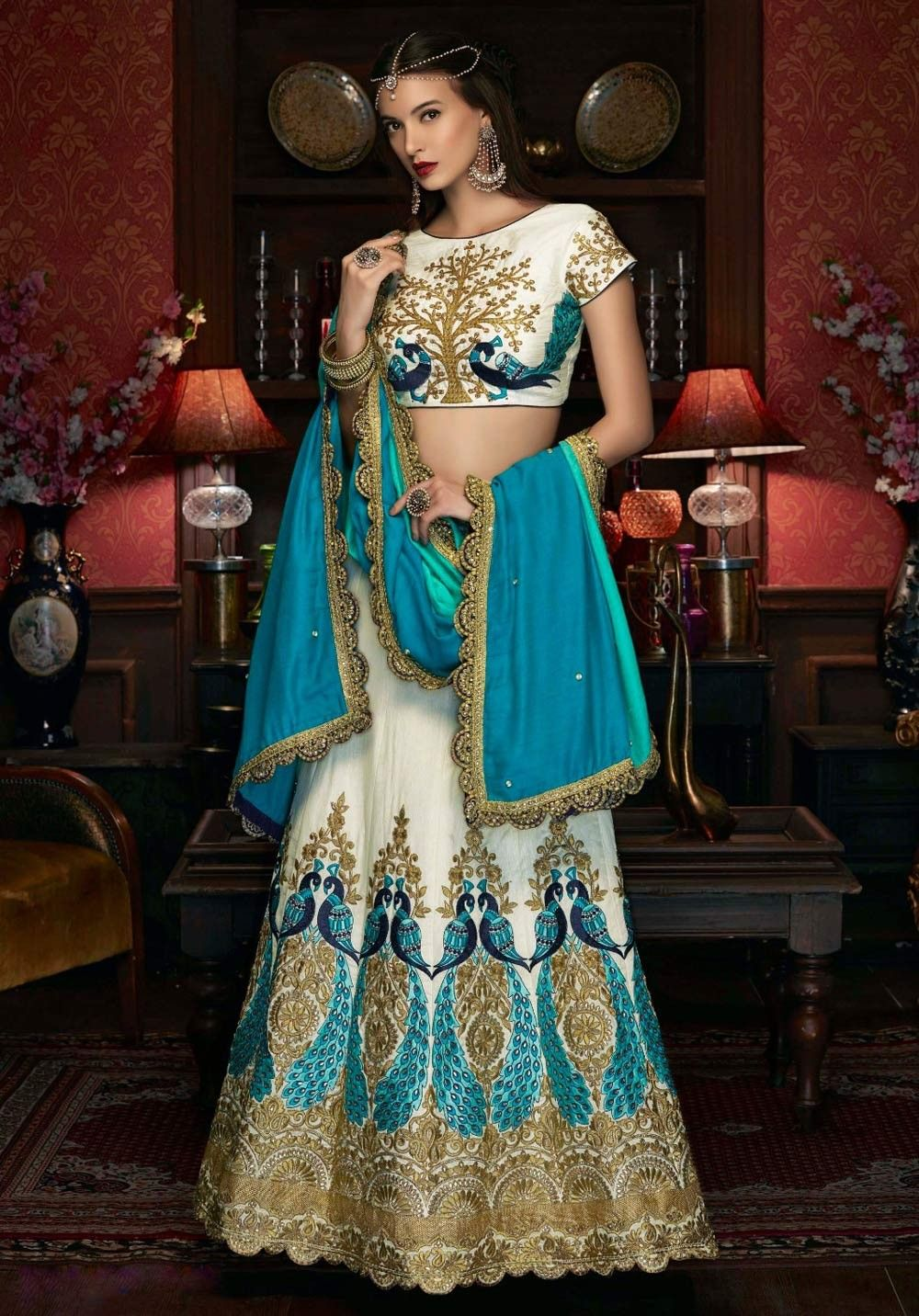 Beautiful Off white traditional work Art silk Partywear Lehenga ...