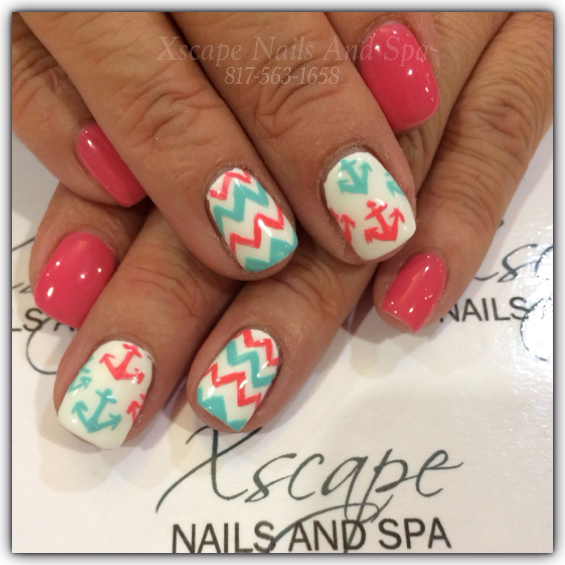 Chevron nails/Gel nails | Cute Nails Designs | Pinterest