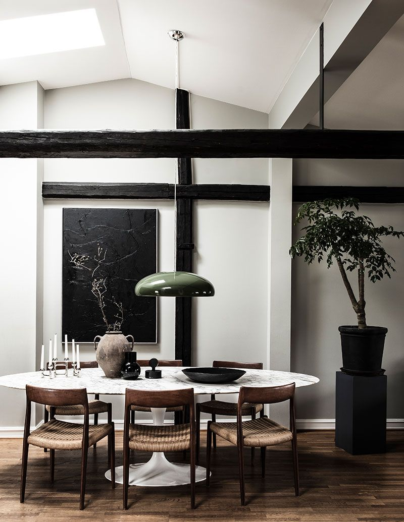 Chic Moody Attic Apartment For A Girl In Goteborg Foto Idei Dizajn In 2020 Dining Room Interiors House Interior Living Room Remodel