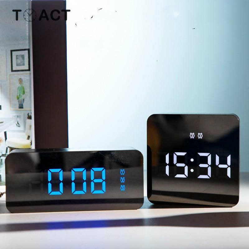 Hd Mirror Alarm Clock Multifunction Makeup Mirror Bedside Digital Alarm Clocks Mute Led Electronic Watch Home Living Room Decor Clock Alarm Clock Mirror Bedside