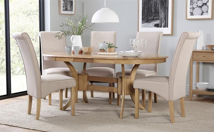 Townhouse Oval Oak Extending Dining Table With 4 Stamford Oatmeal Chairs For Only 499 99 At Furniture Dining Table Chairs Extendable Dining Table