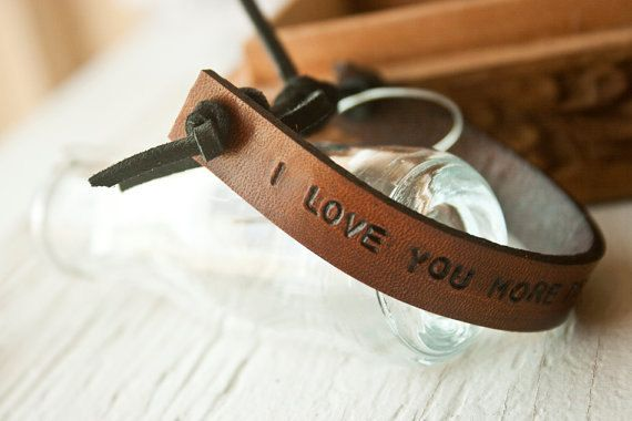 Hand-made leather bracelet that can be customized with your own dictation. Its made with the best leather quality and with the upmost care. You can purchase it through our easy shop https://www.etsy.com/listing/200338953/leather-engraved-bracelets