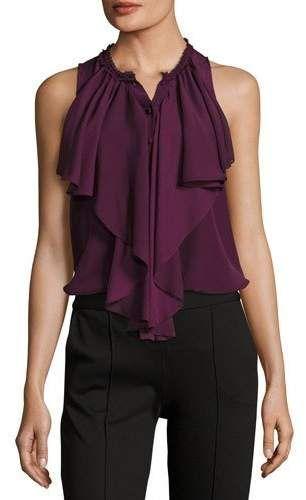 0fcc4158925 Alice + Olivia Elisa High-Neck Ruffle Silk Blouse | Products | Alice ...