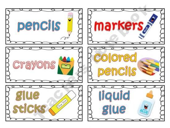 Classroom Labeling Ideas ~ Classroom supply labels for primary teachers with picture