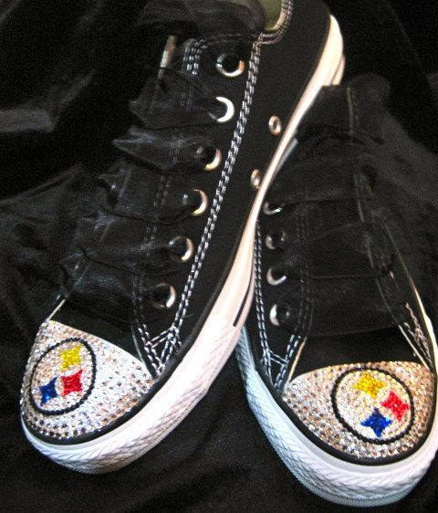 cfd64a75d67f Custom Sports Pittsburgh steelers NFL bling converse adult women shoe  swarovski crystals free ship. $165.00, via Etsy.