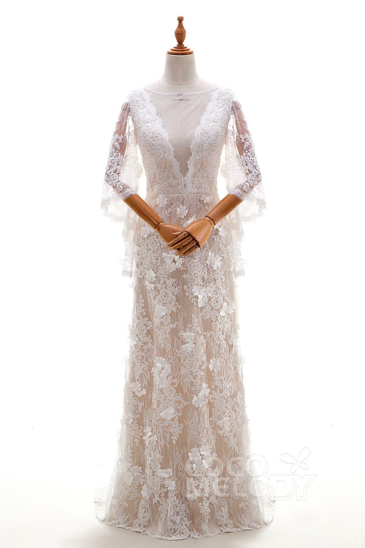 Modisches Brautkleid, Mantel-Silhouette mit natürlicher ...