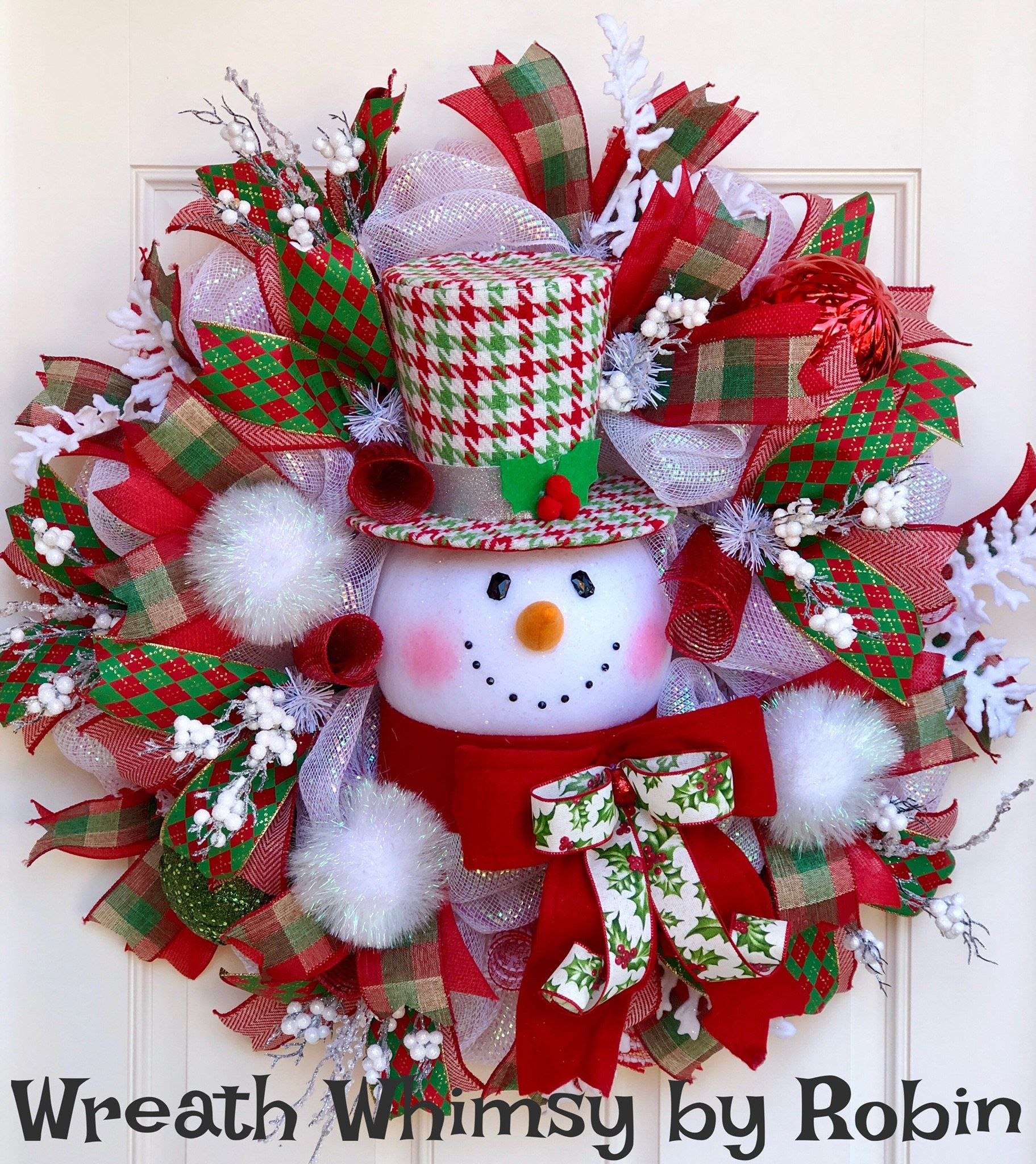 Oversized Deco Mesh Winter Snowman Wreath In Red White And Green Christmas Wreath Holiday Wreath Snowman Decor Xmas Decor Door Wreath Christmas Wreaths Holiday Wreaths Xmas Decorations