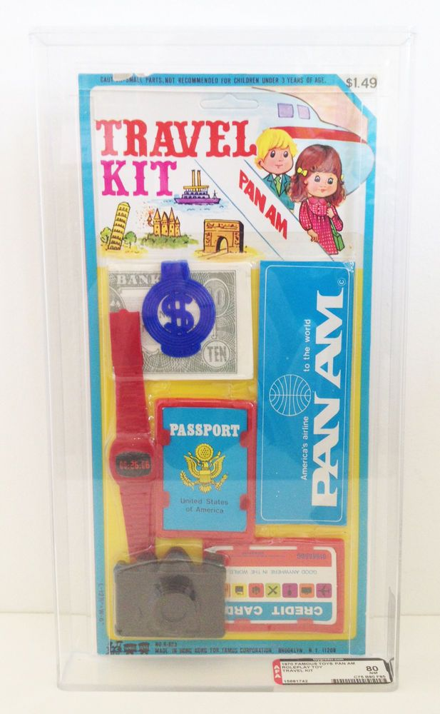 Vintage Pan Am Airlines Travel Kit Play Set 1970 Famous Toys AFA Graded 80 #FamousToys