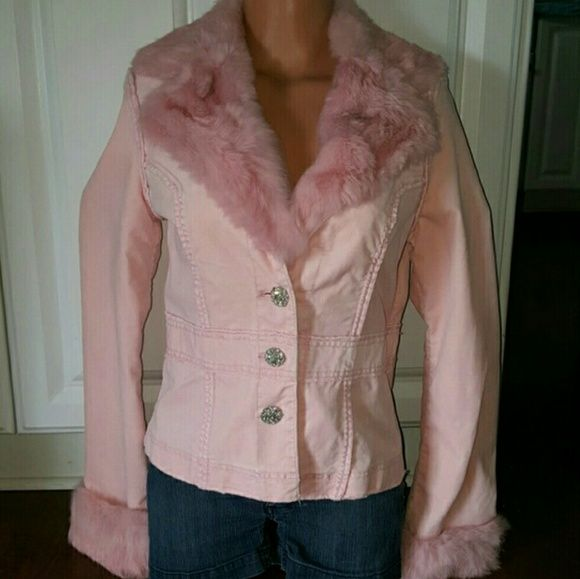 Anthropologie Twill Twenty Two Rabbit Fur Jacket Absolutely stunning anthropologie genuine rabbit fur jacket. This jacket is a beautiful super soft pink velvet with incredibly soft dusty pink rabbit fur accenting the collar and sleeves. Down the front is 3 buttons encrusted each with 17 dazzling rhinestones that sparkle like diamonds. The jacket is in perfect mint condition. There is only one small rhinestone missing from one of the buttons which is unnoticeable. The jacket is a tailored fit…