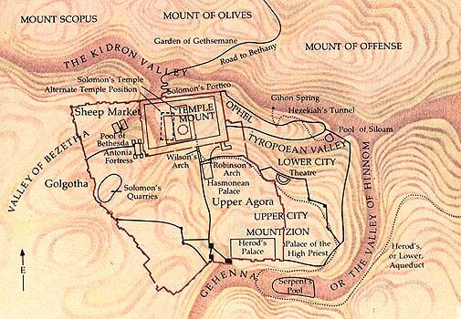 Jerusalem Under Herod Map | ... the Temple mount to the west ...