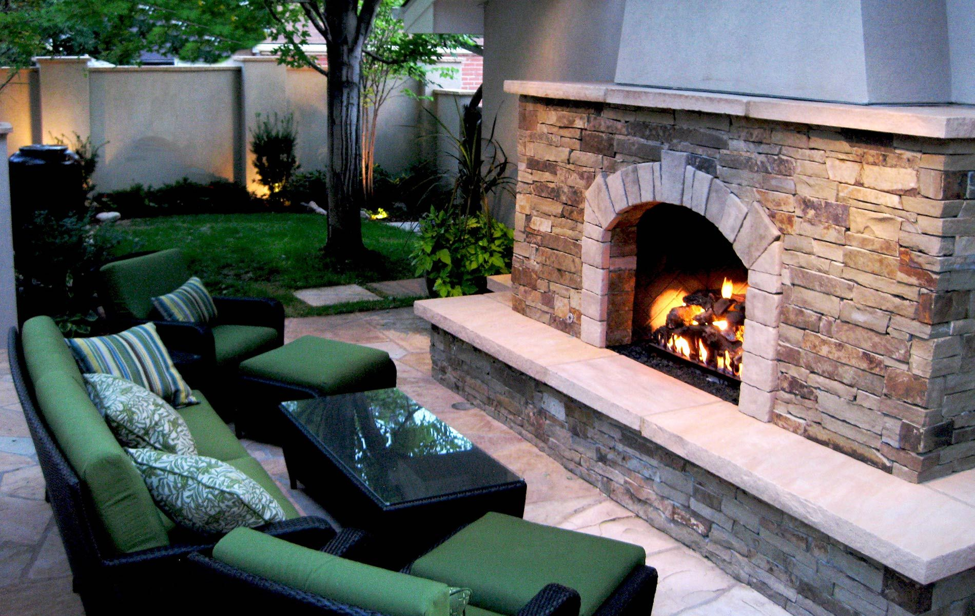 Homage Outdoor Large Stone Fireplace Has A Built In Flagstone