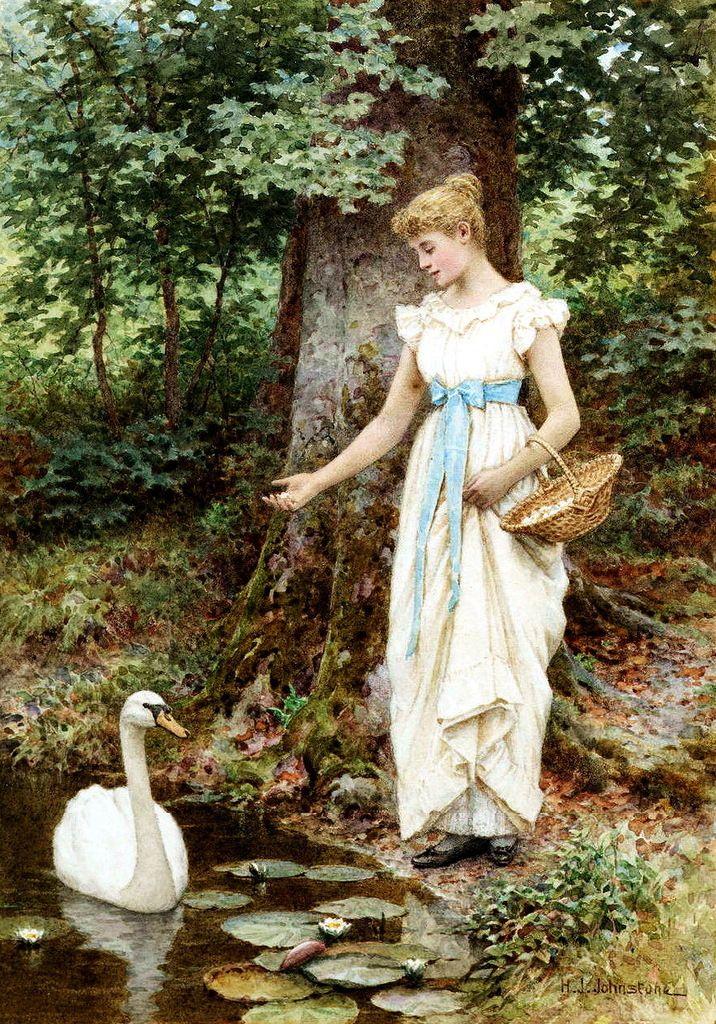 "Henry James Johnstone (British, 1835-1907) - "" Feeding the swan"""