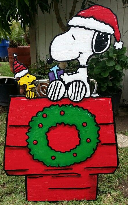 snoopy yard sign christmas yard art christmas yard decorations snoopy christmas diy christmas