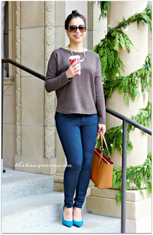 Stitch Fix Jeans | Jack Dudley Textured Knit Back Top | Wantable Style Edit Review | Wantable | Tory Burch Tote | Teal Pumps | Winter Style | Winter Fashion | Casual Outfit Idea