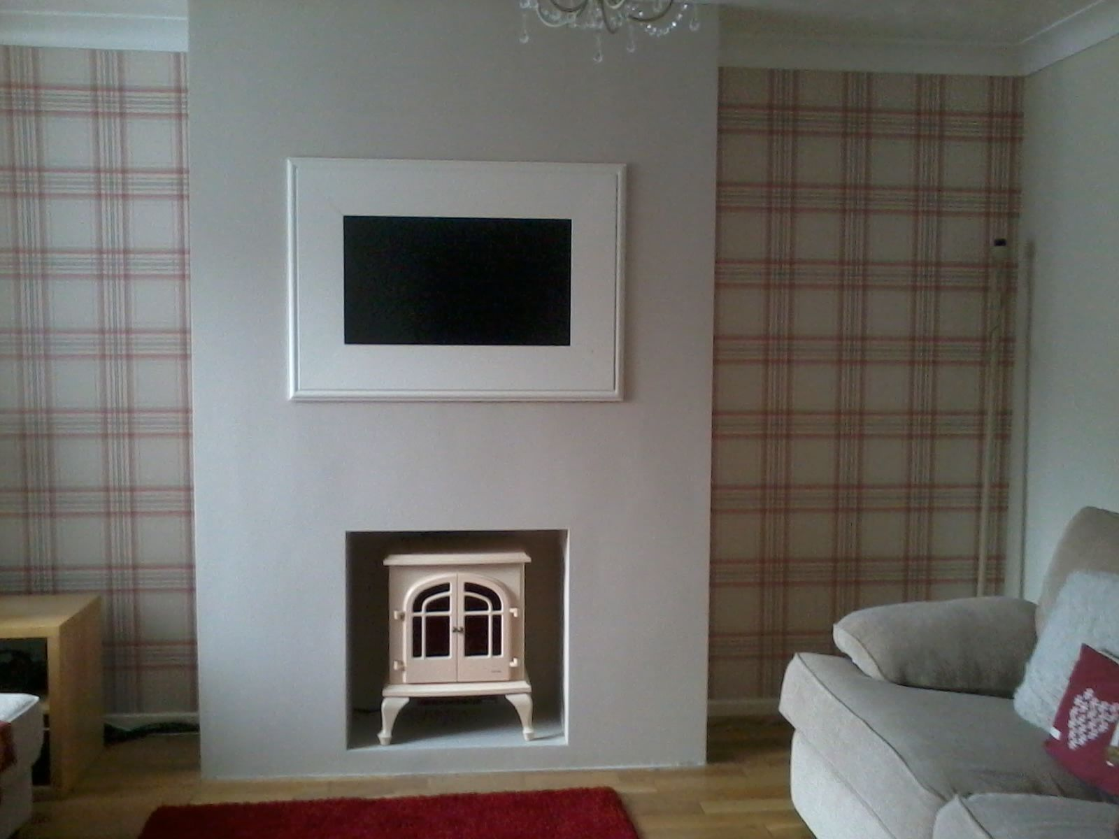 Our lovely contemporary living room with handmade chimney ...