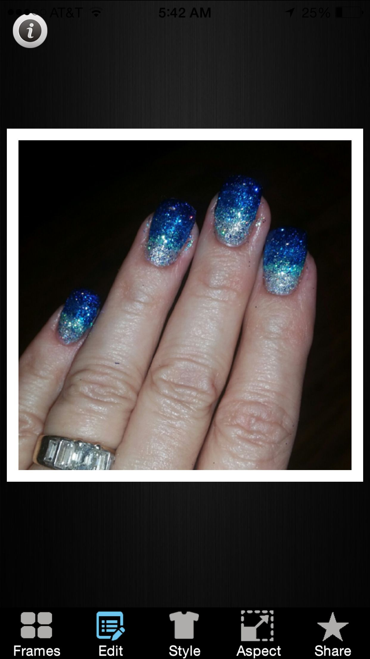 Ocean glitter fade nails done in gel by Erin at Uncaged Salon in ...