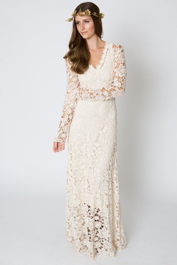 bohemian wedding dress. crochet lace long sleeve boho wedding dress ...