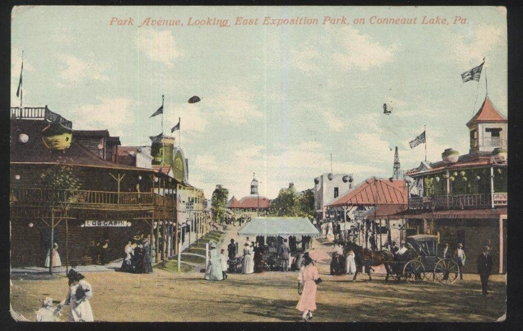 postcard conneaut lake pennsylvania pa park ave exposition midway 2 view 1907 conneaut lake conneaut lake park conneaut pinterest
