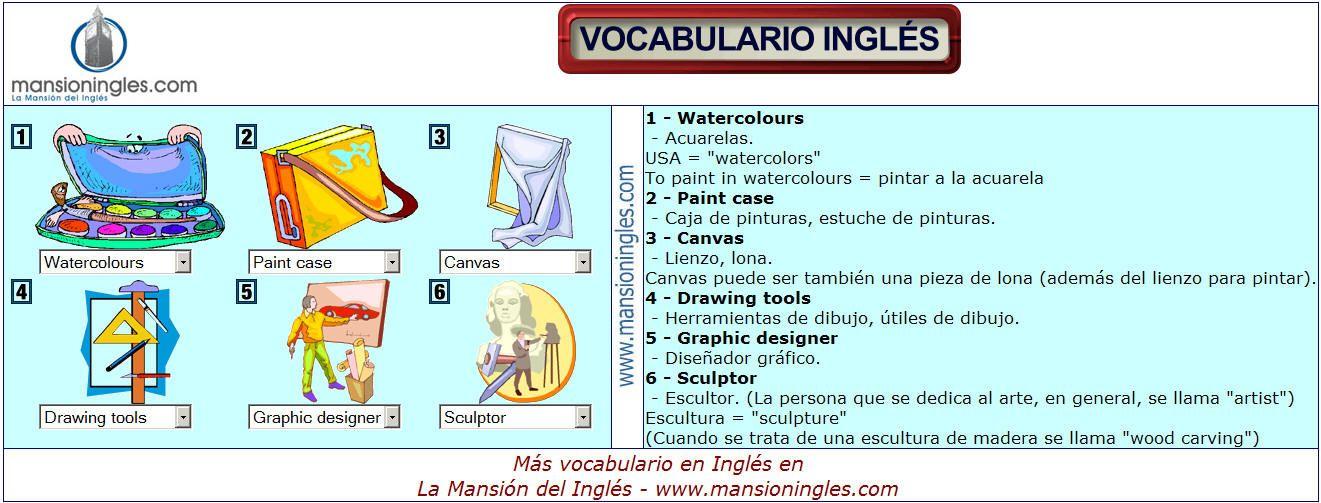 Vocabulario En Ingles De Dibujo Y Pintura Vocabulario Vocabulario En Ingles Vocabulario Ingles Espanol