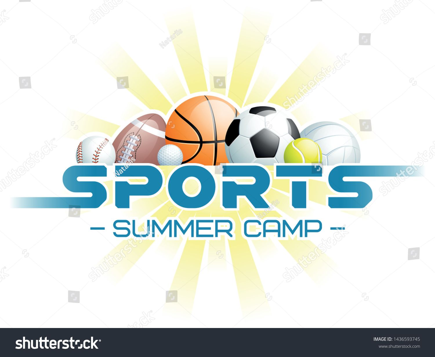 Sports Summer Camp Concept Different Balls Royalty Free Image Vector Different Sports Summer Sports