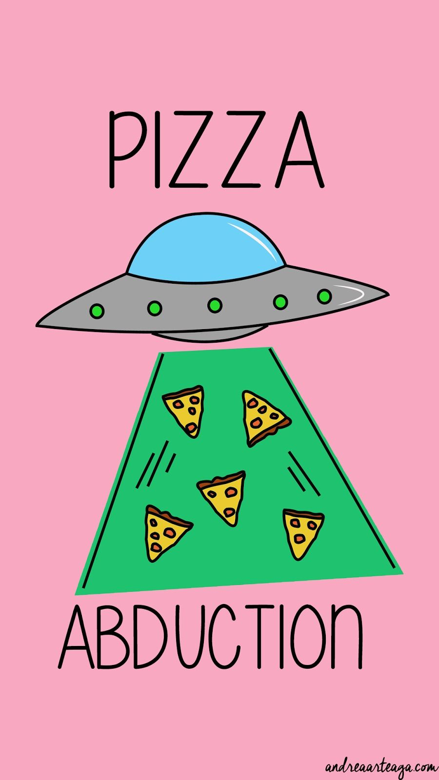 Pizza Abduction Arte Iphone Wallpapers