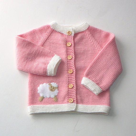 Photo of Suéter de la muchacha del bebé rosa con chaqueta de lana de merino cordero con chaqueta de punto niña bebé de oveja hecho por encargo